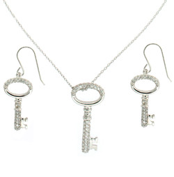 Sterling Silver Key Necklace and Earring Set