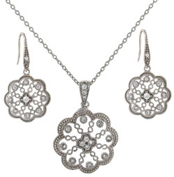 Elegant Flower Pendant set in sterling silver
