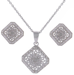 Sterling Silver jewelry set with filigree design