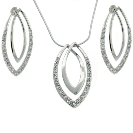 Oval Pendant Earring and Necklace set in Sterling Silver