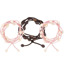 Set of 3 Leather and Pearl Wrap-Around Bobbi Bracelets