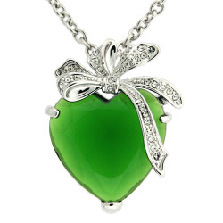 Kate Heart & Bow Necklace In Emerald Green