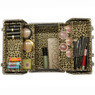 Makeup organizer leopard print top view