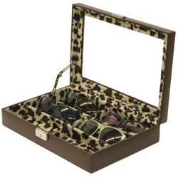 Ladies Leather Sunglass case with leopard print open