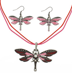 Pink & Red Dragonfly Necklace and Earring Set