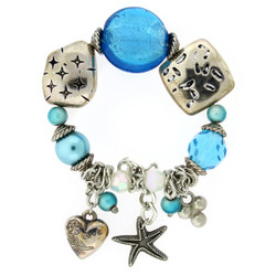 Heart and Starfish Charm Bracelet