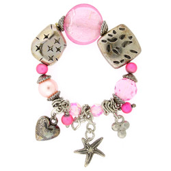 Heart and Starfish Charm Bracelet In Pink