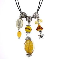 Glass Bead Necklace In Yellow
