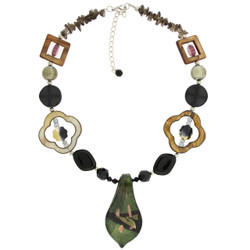 Glass Bead Necklace In Olive