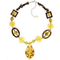 Glass Bead Necklace In Gold