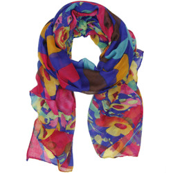 Floral and Striped Scarf In Blue and Magenta