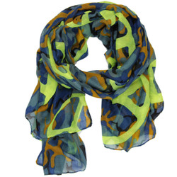 Peace Sign and Camouflage Print Scarf In Blue and Neon Green