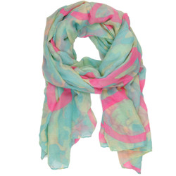 Peace Sign and Camouflage Print Scarf In Turquoise Aqua and Pink