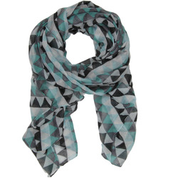 Modern Triangle Geometric Print Scarf In Aqua and Black
