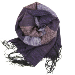 Cozy Striped Bundling Scarf In Purple