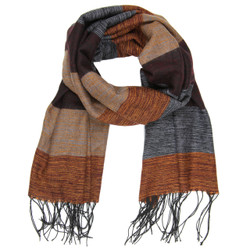 Cozy Striped Bundling Scarf In Brown