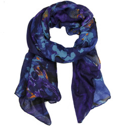 Marble Print Clara Scarf In Navy Blue