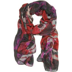 Marble Print Clara Scarf In Red Magenta