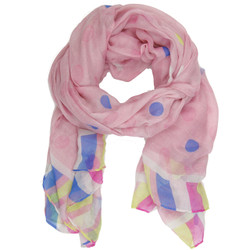 Polka Dot and Striped Colorful Scarf In Pink