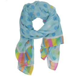 Polka Dot and Striped Colorful Scarf In Blue
