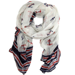 Anchor Print Scarf with Stripes Navy and Print Themed Scarf