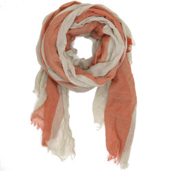 Slate and Coral Stripe Scarf