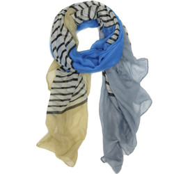 Striped Blue and Tan Scarf