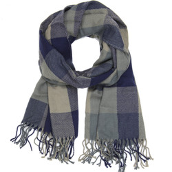 Navy Blue and Beige White Checkered Grid Scarf with Fringe