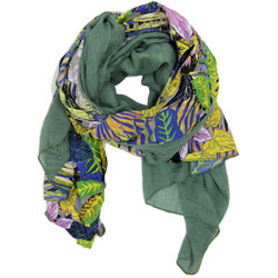Tropical Floral Green Blue and Purple Scarf