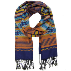 Striped Aztec Scarf with Fringe In Orange