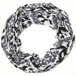 Black and White Damask Infinity Loop Scarf