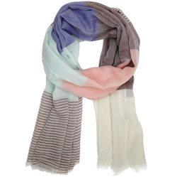 Striped Modern Scarf in Brown Salmon Aqua and Blue | Bucasi Scarves  | SF185 | Main