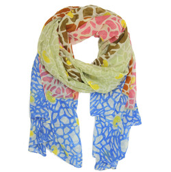 Mosaic Print Scarf In Red, Blue, and Seafoam
