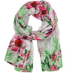 Tropical flamingo print scarf in pink