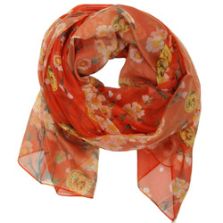 Red cherry blossom floral scarf