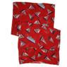 Sailboat print scarf in red closeup