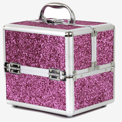 Makeup Train Case Organizer in Pink Glitter | Bucasi CB15324 | Front View