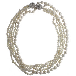 Freshwater Layered Pearl Necklace Easy On-off Magnetic Clasp In White