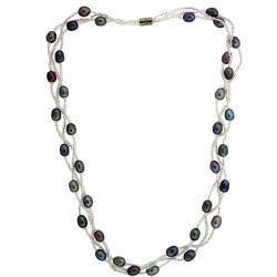 Braided Freshwater Pearl Necklace with Magnetic Clasp In Grey