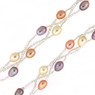Colorful braided pearl necklace closeup