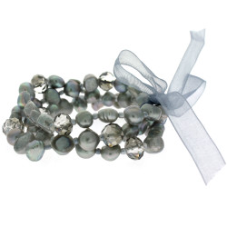 Freshwater Pearl Layered Bracelet Set In Grey