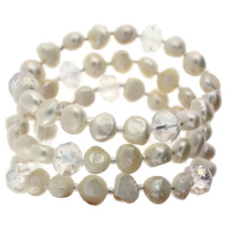 Freshwater Pearl Layered Bracelet Set In White