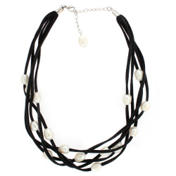 Black suede layered necklace with freshwater pearls