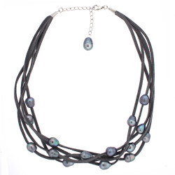 Gray layered suede and freshwater pearl necklace