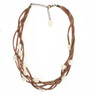 Tan Suede and freshwater pearl necklace