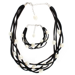 Black suede and freshwater pearl layered necklace set