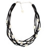 Black suede and freshwater pearl layered necklace