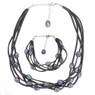 Grey suede and freshwater pearl necklace set