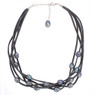 Grey suede and freshwater pearl necklace