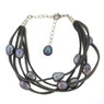 Grey suede and freshwater pearl bracelet